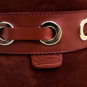 Gucci Shoes - Gucci Maroon Suede Fur Lined Knee High Sz 38 C